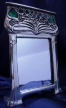 Pewter Framed Mirror with Blue Green Enamelled Detailing,  AK47 M